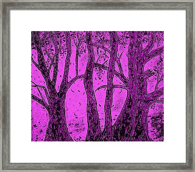 Falling Leaves Purple Framed Print