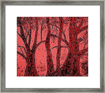 Falling Leaves Red Framed Print