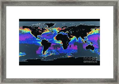 False-col Satellite Image Of Worlds Framed Print by Dr. Gene Feldman, NASA Goddard Space Flight Center