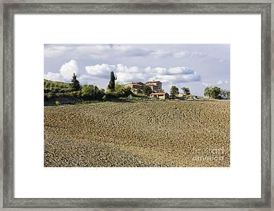 Farmhouse And Field Framed Print