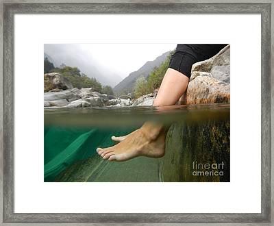 Feet Under The Water Framed Print