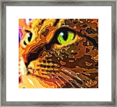 Feline Face Abstract Framed Print by David G Paul