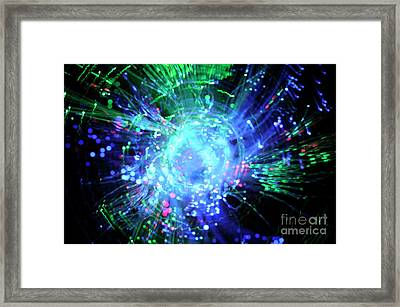 Fiber Optic Swirl Framed Print by Sami Sarkis