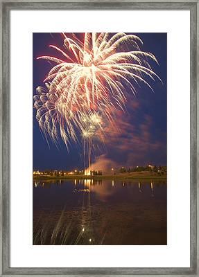 Fireworks Display On Canada Day Framed Print by Carson Ganci