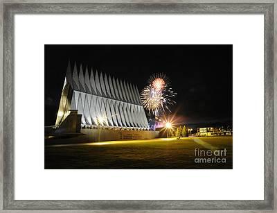 Fireworks Explode Over The Air Force Framed Print by Stocktrek Images