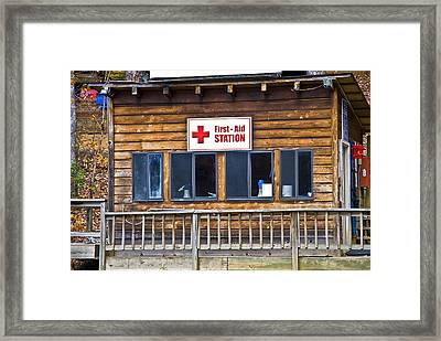 First Aid Station Framed Print by Susan Leggett