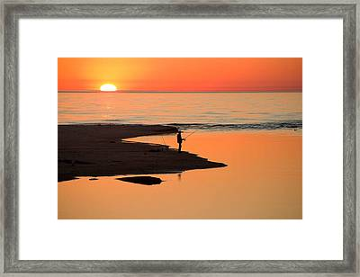 Fisherman At Sunset Framed Print by Twenty Two North Photography