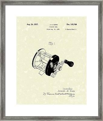 Fishing Reel 1937 Patent Art Framed Print by Prior Art Design
