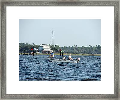 Fishing The Flats Framed Print by Marilyn Holkham