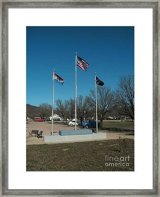Flags With Blue Sky Framed Print