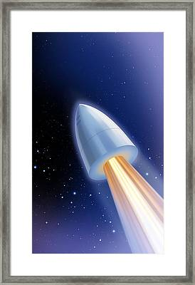 Flight To The Moon By Jules Verne Framed Print by Detlev Van Ravenswaay