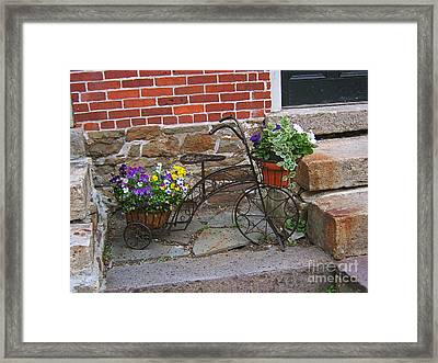 Flower Bicycle Basket Framed Print by Val Miller