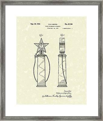 Fluid Dispenser 1932 Patent Art Framed Print by Prior Art Design