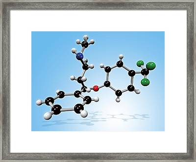 Fluoxetine Drug Molecule Framed Print by Miriam Maslo