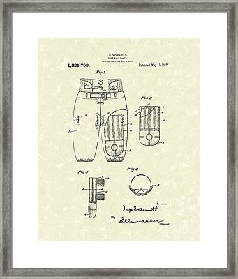 Football Pants 1917 Patent Art Framed Print