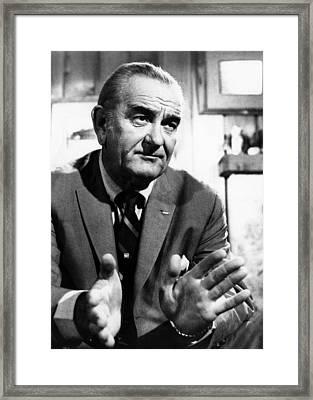 Former President Lyndon Johnson Framed Print by Everett