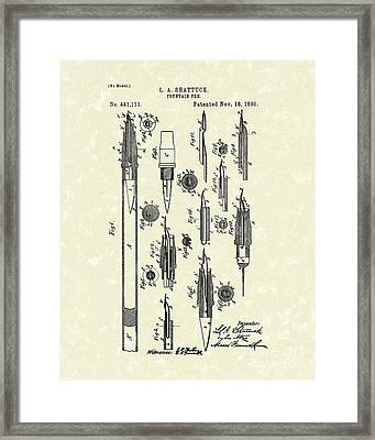 Fountain Pen 1890 Patent Art Framed Print