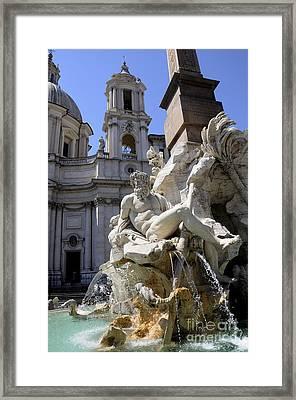 Fountain. Piazza Navona. Rome Framed Print by Bernard Jaubert