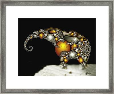 Fractal Elephant Framed Print by Julie Grace