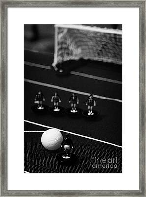 Free Kick With Wall Of Players Football Soccer Scene Reinacted With Subbuteo Table Top Football  Framed Print by Joe Fox