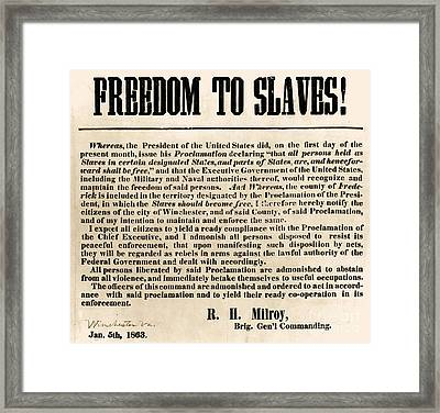 Freedom To Slaves Framed Print