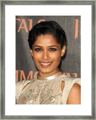 Freida Pinto At Arrivals For Immortals Framed Print