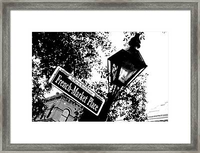 French Quarter French Market Street Sign New Orleans Colored Pencil Digital Art Framed Print