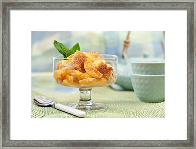 Freshly Baked Peach Cobbler Framed Print by Lorraine Kourafas