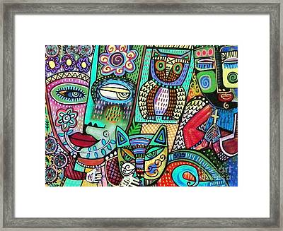 Frida's Garden Owl And Cat Framed Print by Sandra Silberzweig
