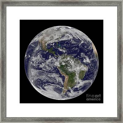 Full Earth Showing North America Framed Print