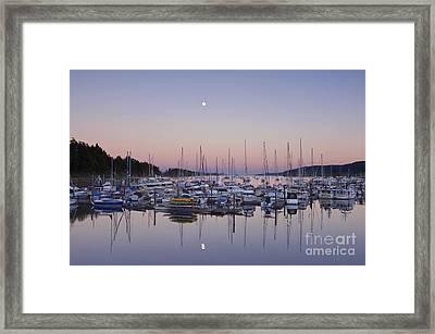 Full Moon Over Ganges Harbor Framed Print by Rob Tilley