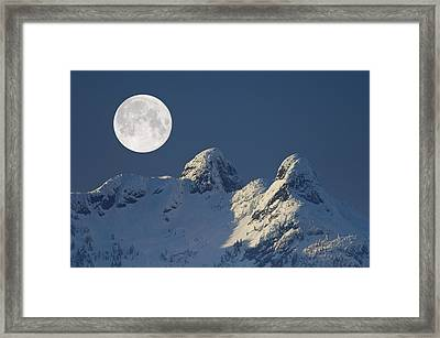 Full Moon Over The Lions, Canada Framed Print by David Nunuk