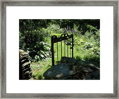 Gate To The Garden Framed Print by Suzanne Fenster