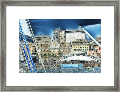 Genova Expo Area With Saint George Building Framed Print by Enrico Pelos