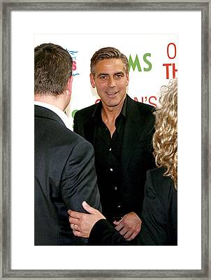 George Clooney At Arrivals For Oceans Framed Print by Everett