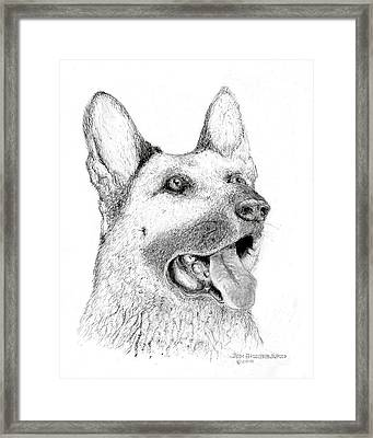 Framed Print featuring the drawing German Shepherd Dog by Jim Hubbard