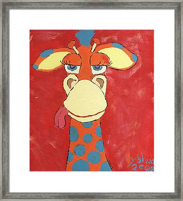 Giraffe Framed Print by Yshua The Painter