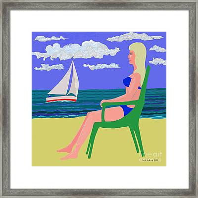 Girl At Beach Framed Print