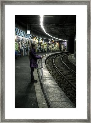 Girl In Station Framed Print by Joana Kruse