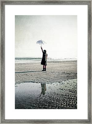Girl On The Beach With Parasol Framed Print by Joana Kruse