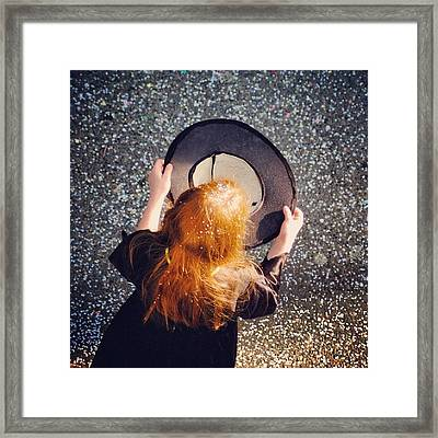 Girl With Empty Hat Waiting For Donation Framed Print