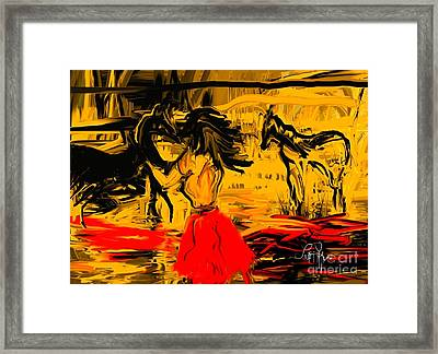 Framed Print featuring the digital art Girl With Horses by Leo Symon