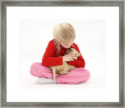 Girl With Puppy Framed Print by Mark Taylor