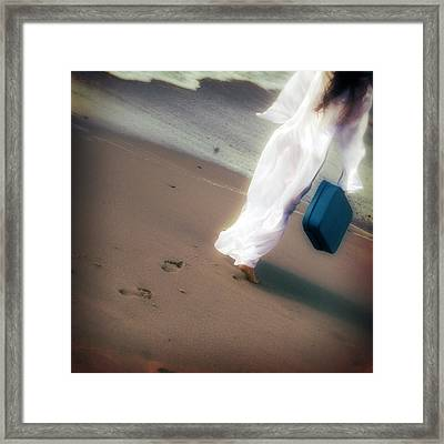 Girl With Suitcase Framed Print