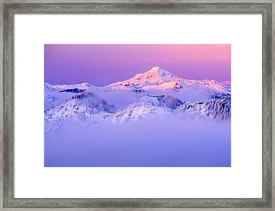 Glacier Peak Alpenglow - Purple Framed Print by Misao  Okada