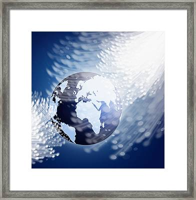 Globe With Fiber Optics Framed Print by Setsiri Silapasuwanchai