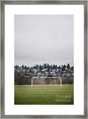 Goal Nets On Soccer Field Framed Print by Jetta Productions, Inc
