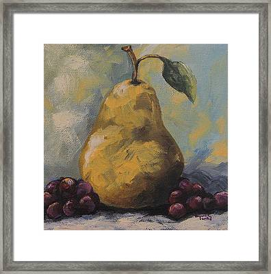Golden Pear With Grapes Framed Print by Torrie Smiley