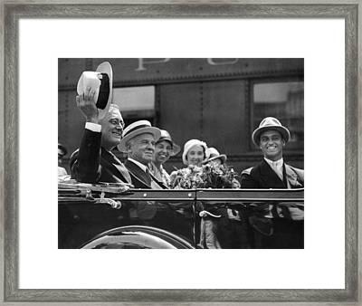 Governor Franklin Roosevelt Campaigning Framed Print by Everett