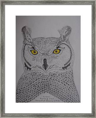 Framed Print featuring the drawing Great Horned Owl by Gerald Strine